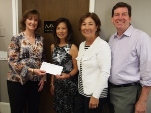 Pictured from left to right, are: LACF first-time Donors Lee Ann Shell, MVLA Co-Executive Directors Margaret Gong and Laura Roberts, and MVLA District Superintendent Jeff Harding.